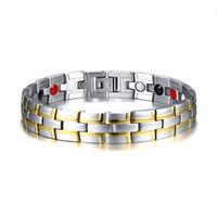 pulsera de elemento de hombre al por mayor-Healing Magnetic Bracelet Men Stainless Steel 4 Elements Bio Energy Health Care Pulseras Hand Chain Accessories