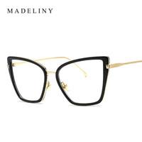 b79425a17c08de MADELINY Mode Frauen Cat Eye Brillen Rahmen Marke Designer Luxus Metallrahmen  Gläser Vintage Brille Klare Linse MA154