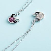 souris de luxe achat en gros de-Bijoux de luxe S925 collier en argent sterling pour les femmes souris pendentif belle mode chaud sans expédition