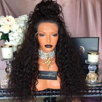 façades en dentelle chaude achat en gros de-Vente chaude Noir Brun Long Kinky Curl perruques avec des cheveux de bébé 180% densité pleine densité synthétique Lace Front perruques pour les femmes livraison gratuite
