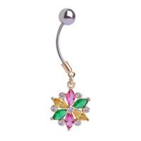 Wholesale nice christmas lights - Light Blue Jewelry Snow Flowers Body Jewelry Piercings Navel Belly Button Rings Finy Nice Gift For Women Girls Bikini Pircings