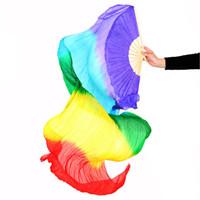 velos de seda bailando al por mayor-Stage Performance Prop Dance Fans 100% Silk Veils Tie-dyed Rainbow Color Mujer Belly Dance Fan Velos (1 piezas solamente)