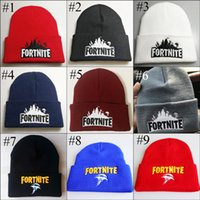Wholesale Fortnite Battle Knitted Hat Bonnet Boys Girls Men Women Hip Hop Embroidery Knitted Warm Costume Cap Winter Soft Warm Beanies Colors