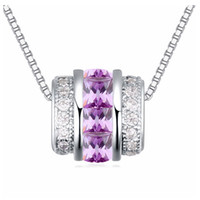 Wholesale Micro Twist - AAA grade micro setting Zircon Pendant Necklace white gold plating classical circles jewelry for men and women neutral style