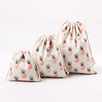 Wholesale milk tea shop - Canvas Drawstring Bag Tea Leaves Storage Shopping Bags Fashion Pineapple Printing Bundle Pocket For Candy Gift Portable sb ZZ