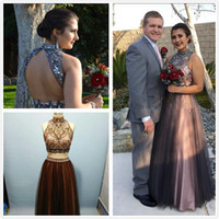 Wholesale real stone flooring - 2018 Real Image Two Pieces Tulle A Line Prom Dresses Beaded Stones Top Hollow Back Floor Length Party Evening Dresses
