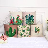 pinturas textiles al por mayor-Serie de la planta cojines decorativos color pintado a mano cactus funda de almohada de algodón lino coche sofá funda de cojín textiles para el hogar 9my bb