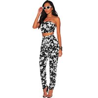 suit shoulder 2018 - Summer Sexy Women Two Pieces Sets Crop Top Long Pants Suits Women Off the Shoulder Leaves Print Backless Sleeveless Clothes Sets
