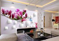 papel pintado mariposa para diseños de paredes al por mayor-Papeles de pared diseñadores de decoración del hogar 3D Magnolia Butterfly TV telón de fondo diseño 3D paisaje papel tapiz