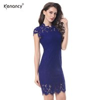 Wholesale office club clothing online - S XL Party Lace Dress Women Elegant Sleeveless Floral Eyelash Lace Bodycon Pencil Office Vestidos Silm Colors Clothes