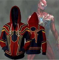 Wholesale 5xl zip hoodie - Movie The Avengers 3 Hoodies Spider Zip Hoodie Sweatshirts Long Sleeve Zipper Men Cosplay Sweatshirt Jacket KKKA5175