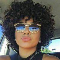 Wholesale kinky curl full lace wigs - Bazilian Wet and curly Human Hair Wigs Brazilian kinky curl Lace Front Wigs Glueless Full Lace Wigs Bleached Knots