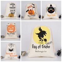 Wholesale footing design - Halloween Pumpkin Bags Canvas Drawstring Sack Hallowmas Gift Bags Tricks Or Treat Printed Festival Party Decor 9 Designs YW38
