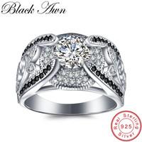 ingrosso le pietre nere squillano le donne-[BLACK AWN] 5.4Gram Genuine 925 Sterling Silver Jewelry Anelli per le donne BlackWhite Stone Femme Bague C321 S18101001