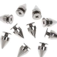 tacos de cono punk al por mayor-Puntas de puntas de bala de color plata de 9 mm y espárragos de metal espárragos artesanales de bricolaje para joyería