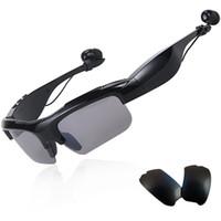 musica deportes mp3 al por mayor-Gafas de sol de moda Auriculares Bluetooth Deportes inalámbricos Auriculares Sunglass Auriculares manos libres estéreo reproductor de música mp3 por DHL
