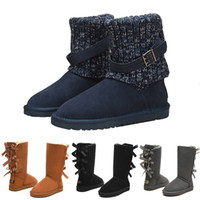Wholesale womens winter boots knee resale online - winter New designer Classic snow Boots Cheap womens winter boots fashion discount Ankle Plus cotton Boots shoes size