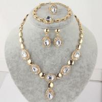 Wholesale 14k gold sapphire bracelet - 14k Gold Filled Austrian Crystal Sapphire Necklace Bracelet Earrings Ring