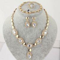 14k gold gefüllter saphirring großhandel-14k Gold gefüllt österreichischen Kristall Saphir Halskette Armband Ohrringe Ring
