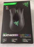 razer mouse toptan satış-Razer Deathadder Chroma USB Kablolu Optik Bilgisayar Oyun Fare 10000 dpi Optik Sensör Fare Razer Fare Deathadder Oyun Fareler