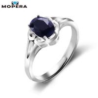 цветок сапфир кольца оптовых-Mopera цветочный дизайн 0.9 ct натуральный темно-синий сапфир годовщина рождения кольцо для женщин твердые стерлингового серебра 925 ювелирных изделий Y1892704