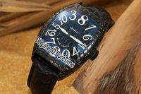 hora loca ver al por mayor-Nuevo Black Croco 8880 Crazy Hours 3D Cracking All Black Dial White Number Mark Automático Reloj para hombre Correa de cuero barato Puretime FA72a1