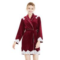terciopelo largo de una pieza al por mayor-Velvet Sleepwears camisón de invierno de las mujeres de terciopelo vestido de dormir manga larga versión coreana de encaje de pijama de una sola pieza de alta calidad Nuevo