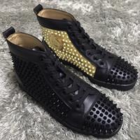 spitzenbolzen oben großhandel-Luxus Marke High Top Rote Untere Spikes Sneakers Schuhe Weiß-Splitter, Schwarz-Gold Studs Modedesigner Walking Mit Box