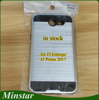 Wholesale usa plastics - For Samsung Galaxy J3 Emerge Boost Mobile J3 Prime 2017 Metro PCS USA Brushed Metal Polish PC TPU Hybrid Cheap Phone Case Stock