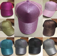 Wholesale 10 Colors Glitter Ponytail Ball Cap Girl Sequin Net Snapback Messy Hip Hop Hat Unisex Big Children Baseball Visor Hats Gifts HH7