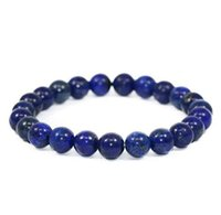 Wholesale women semi precious stone bracelet resale online - JLN Power Beads Bracelet Semi Precious Gems Amazonite Hematite Lapis Stone Elastic Rope Stretch Bracelet Gift For Man Woman
