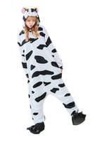 yetişkin inek pijama toptan satış-Unisex Yetişkin Cadılar Bayramı Kostümleri Sleepsuit Kostüm Cosplay Kigurumi Onesie Pijama İnek