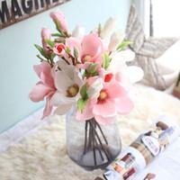 fabrique de fleurs en soie achat en gros de-Magnolia Fleur Artificielle Élégant Soie Simulation Fleurs Maison Ameublement Décor De Mariage Cérémonie Supply Arts Et Artisanat Usine Direct gg