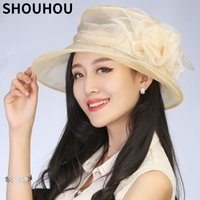 Wholesale large girls wide brim hats resale online - SHOUHOU Fashion Summer Women hat Lady s Foldable Wide Large Brim Floppy Beach Hat Sun silk spring girls elegant Cap