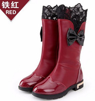 Wholesale boots child female resale online - Newest Winter Baby Girls Snow Boots Lace Fashion Female Children Boots Korean Waterproof and warm Kids High Boots Shoes
