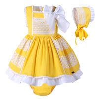 trajes amarelos venda por atacado-Pettigirl Meninas Do Bebê Vestido de Algodão Crianças Amarelo Traje Crianças roupas de Verão Meninas Com Bonnie + PPpants G-DMCS101-B174