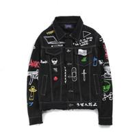 chaqueta de jean de moto hombre al por mayor-chaqueta de mezclilla hombres mujeres las calles del garabato chaqueta de mezclilla garabato chaqueta de los hombres de la motocicleta hombres de mezclilla y chaquetas de hip hop 2018