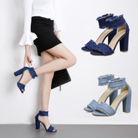 Wholesale Zip Up Ties - High heels women summer of 2018 new spring thick with han edition small pure and fresh and denim joker female shoes one word with sandals