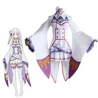 trajes de anime personalizados venda por atacado-Re: Zero Vida em um Mundo Diferente de Zero Feminino Emilia / Satella Cosplay Qualquer Tamanho Custom Made Com Peruca traje de Halloween