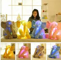 Wholesale noses led - Led Luminous Elephant Pillow Baby Long Nose Elephant Stuffed Plush Doll Toys Children Adult Sleep Pillow Soft Animals Toys Gifts KKA2462