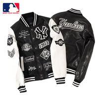 cuero uniforme al por mayor-Tide brand NYMLB uniforme de béisbol pareja chaqueta de bordado de chaqueta de cuero de los hombres chaqueta de pareja mujer Yankees equipo marea marca béisbol grueso