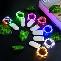 caja de luz flor decoracion al por mayor-Calidad cadena de luz led de navidad con 2032 botón caja de la batería cadena de luz pastel de flores decoración de la fiesta linterna luces