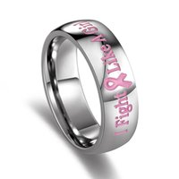 Wholesale Black Ribbon Ring - Pink Ribbon Titanium Steel Ring 6MM Stainless Steel Rings Engraved I Fight Like A Girl Logo Finger Ring For Women Girl Gift