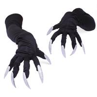 ingrosso costume dei guanti dell'artiglio-Guanti lunghi di gomito lunghi di raso con i chiodi d'argento brillanti Accessori di cosplay di accessorio di Halloween per le donne