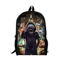 Wholesale layer school bags - 13inch Tokyo ghoul backpack double layer pre-k School bags children men Japanese anime custom made