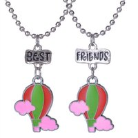 Wholesale hot air balloon necklaces - 12pair lot best friends necklace silver tone beautiful colorful Hot air balloon with cloud charm BFF necklace Children's day gift