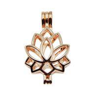 huile essentielle de lotus achat en gros de-10 pcs Rose Or Lotus charme Perle Cage Fabrication de Bijoux Perle Cage Pendentif Aroma Huile Essentielle Diffuseur Médaillon pour Oyster Perle