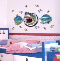 Wholesale shark art online - 3D Printing Shark Wall Stickers Wallpaper Wall Picture Art Vintage Room Home Decor Kitchen Accessories Household Crafts Suppllies