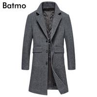 casaco xadrez em lã mais tamanho venda por atacado-BATMO 2018 nova chegada de inverno de alta qualidade de lã xadrez inteligente casual trench coat grosso homens, casacos longos dos homens, plus size 99820