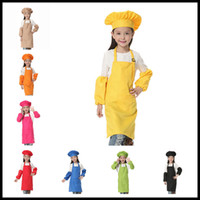 Wholesale Christmas Chef - Christmas Gifts 3pcs set Children Kitchen Waists 12 Colors Kids Aprons with Sleeve&Chef Hats for Painting Cooking Baking